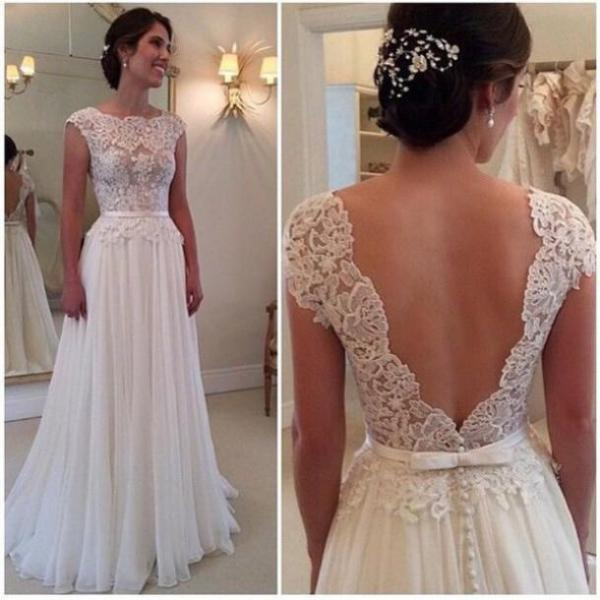 Custom Made A Line Backless Lace Wedding Dresses, Dresses For ...